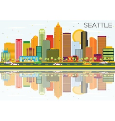 Abstract Seattle Skyline with Color Buildings vector image