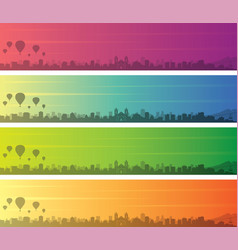 Albuquerque multiple color gradient skyline banner vector