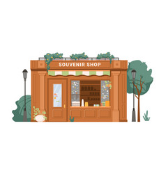Antique souvenir collectables shop facade exterior vector