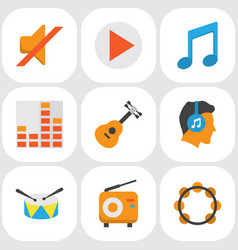 Audio flat icons set collection of male quiet vector