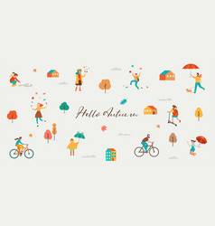 autumn fall scene with various cute people vector image