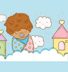 Baby boy in the blanket with pacifier and clouds vector