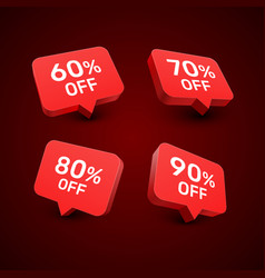 banner 60 70 80 90 off with share discount vector image