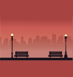 Beauty scenery chair and lamp silhouettes vector
