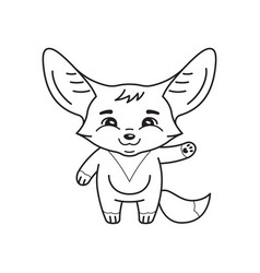Black and white cute fennec fox who swings its vector