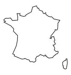 Black contour map of France vector image