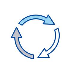 Blue contour of arrows circle reload vector