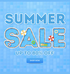 blue summer sale banner top view on summer vector image