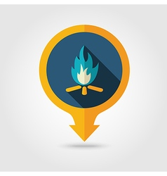 Bonfire pin map flat icon Summer Vacation vector