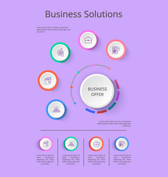 business solution presentation with icons vector image