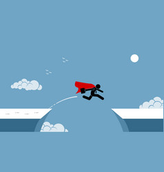 Businessman with red cape taking risk jumping vector