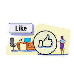 businesswoman with thumbs up symbol like icon vector image