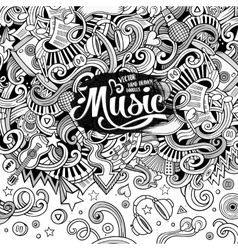Cartoon hand-drawn doodles Musical vector