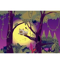 Cat sleeping in tree vector