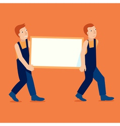 Characters holding empty frame with copy space vector