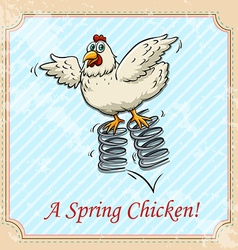 Chicken bouncing on spring vector