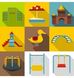 Children rides icons set flat style vector image