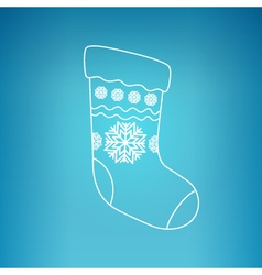 Christmas Sock on a Blue Background vector image