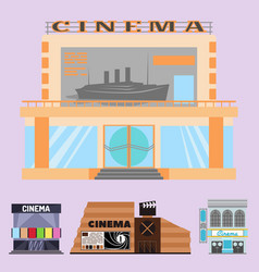 cinema building facade movie vector image