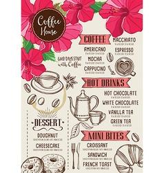 Coffee restaurant cafe menu tea board template vector image