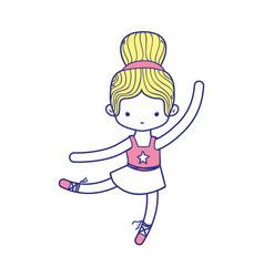 Colorful ballerina pactice dancer with hair bun vector