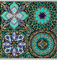 Colorful floral seamless pattern from squares vector