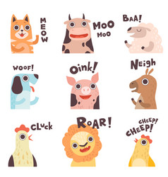 Cute cartoon farm animal making sounds set cat vector