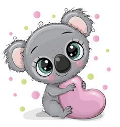Cute cartoon koala with heart vector