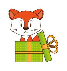 cute little fox character vector image