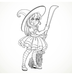Cute little girl dressed as witch with a broom vector