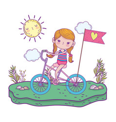 cute little girl riding bicycle in landscape vector image