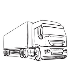 Delivery service hand drawn truck transport vector