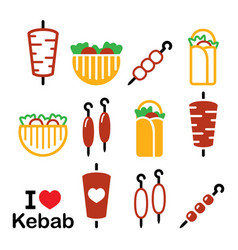 Doner kebab icons kebab in wrap or pita vector
