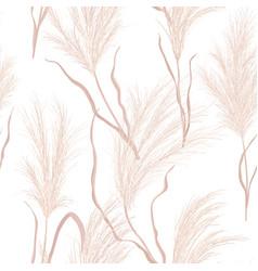 Dry pampas grass seamless pattern vector