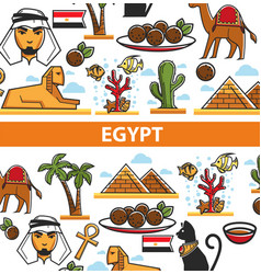 Egypt travel poster of landmark symbols vector