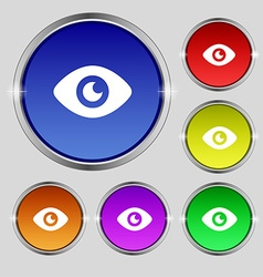 Eye publish content icon sign round symbol on vector
