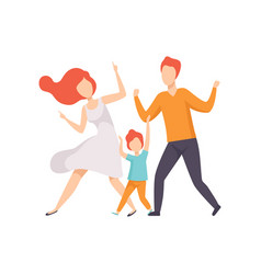 Family dancing son having fun with his parents vector