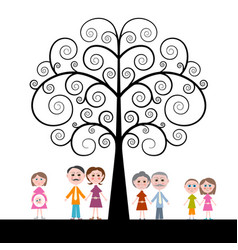 Family with curled tree on white background vector