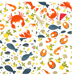 fish and crab seafood seamless patterns lobster vector image