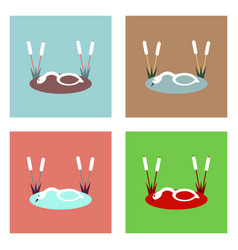 Flat icon design collection swan in the reeds vector