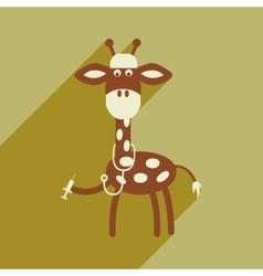 Flat icon with long shadow giraffe cartoon vector
