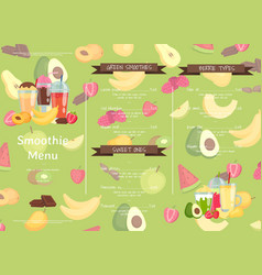 flat smoothie cafe or restaurant menu vector image
