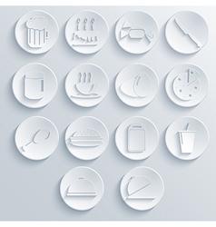 food icon set on blue background Eps10 vector image