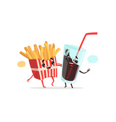 French fries and cola glass with blank speech vector