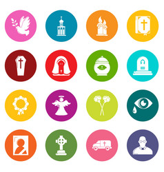 Funeral ritual service icons set colorful circles vector
