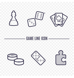 games linear icons chess dice cards checkers and vector image