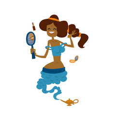 Genie djinn beautiful princess cartoon character vector