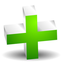 green cross sign for first aid healthcare support vector image
