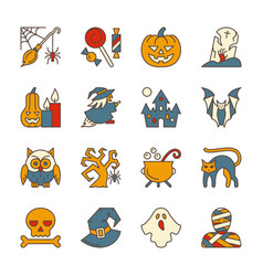 halloween party symbol icon set editable stroke vector image