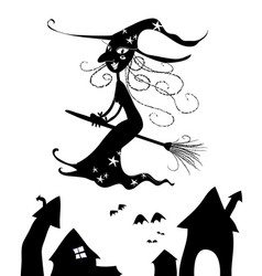 halloween silhouettes of witch flying vector image